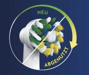 Die neue und innovative CleanMaximiser-Technologie für Oral-B Aufsteckbürsten für einen rechtzeitigen Bürstenkopfwechsel.