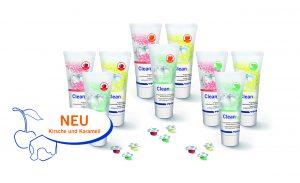 """Die Prophylaxepaste CleanJoy von VOCO gibt es nun auch in den Geschmacksrichtungen """"cherry"""" und """"caramel""""."""