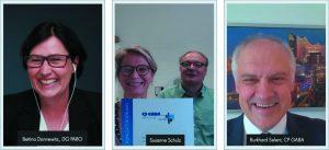 Prof. Dr. Bettina Dannewitz (l.) und Dr. Burkhard Selent (r.) führten gemeinsam alle Preisverleihungen durch; Mitte: Forschungsförderung: apl. Prof. Dr. Susanne Schulz, apl. Prof. Dr. Stefan Reichert, Halle